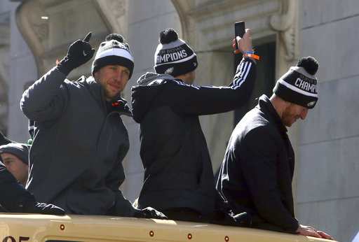 <div class='meta'><div class='origin-logo' data-origin='AP'></div><span class='caption-text' data-credit='AP'>Philadelphia Eagles quarterbacks Nick Foles and Carson Wentz ride in the parade Thursday Feb. 8, 2018, in Philadelphia.  (AP Photo/Jacqueline Larma)</span></div>