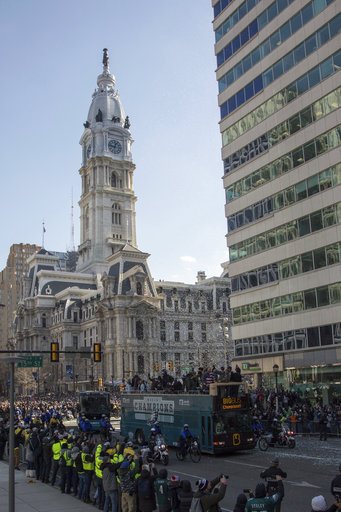 <div class='meta'><div class='origin-logo' data-origin='AP'></div><span class='caption-text' data-credit='AP'>The Philadelphia Eagles celebrate atop a bus as they go past Philadelphia City Hall during a Super Bowl victory parade, Thursday, Feb. 8, 2018 (AP Photo/Christopher Szagola)</span></div>