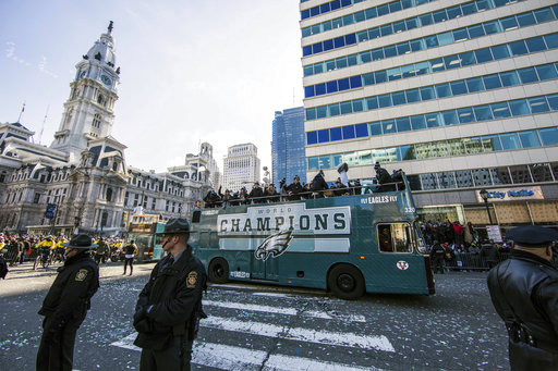 <div class='meta'><div class='origin-logo' data-origin='AP'></div><span class='caption-text' data-credit='AP'>The Philadelphia Eagles Super Bowl victory parade passes Philadelphia City Hall, Thursday, Feb. 8, 2018, in Philadelphia. (AP Photo/Christopher Szagola)</span></div>