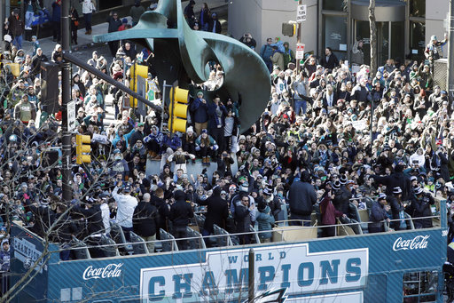 <div class='meta'><div class='origin-logo' data-origin='AP'></div><span class='caption-text' data-credit='AP'>Philadelphia Eagles players celebrate on a bus passing fans during a Super Bowl victory parade, Thursday, Feb. 8, 2018, in Philadelphia. (AP Photo/Matt Slocum)</span></div>