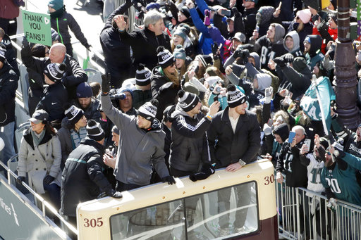 <div class='meta'><div class='origin-logo' data-origin='AP'></div><span class='caption-text' data-credit='AP'>Philadelphia Eagles' Nick Foles, Nate Sudfeld and Carson Wentz celebrate during a Super Bowl victory parade, Thursday, Feb. 8, 2018, in Philadelphia. (AP Photo/Matt Slocum)</span></div>