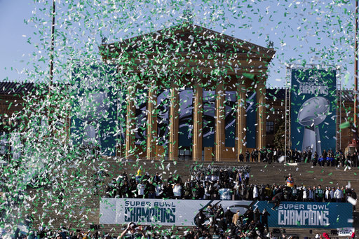 <div class='meta'><div class='origin-logo' data-origin='AP'></div><span class='caption-text' data-credit='AP'>Confetti flies to end a celebration in front of the the Philadelphia Museum of Art after a Super Bowl victory parade for the Philadelphia Eagles (AP Photo/Alex Brandon)</span></div>