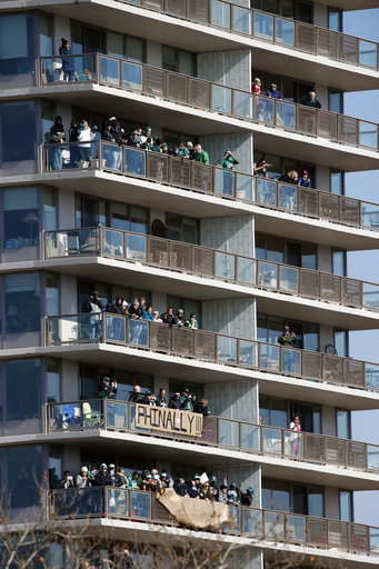 <div class='meta'><div class='origin-logo' data-origin='AP'></div><span class='caption-text' data-credit='AP'>Fans line balconies before a Super Bowl victory parade for the Philadelphia Eagles football team, Thursday, Feb. 8, 2018, in Philadelphia. (AP Photo/Alex Brandon)</span></div>