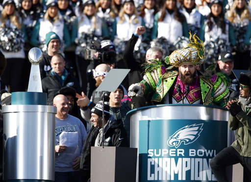 <div class='meta'><div class='origin-logo' data-origin='AP'></div><span class='caption-text' data-credit='AP'>Philadelphia Eagles center Jason Kelce speaks in front of the Philadelphia Museum of Art after a Super Bowl victory parade Thursday, Feb. 8, 2018 (AP Photo/Alex Brandon)</span></div>