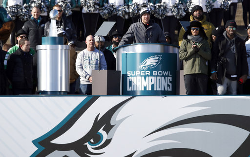 <div class='meta'><div class='origin-logo' data-origin='AP'></div><span class='caption-text' data-credit='AP'>Philadelphia Eagles quarterback Nick Foles speaks in front of the the Philadelphia Museum of Art after a Super Bowl victory parade for the team (AP Photo/Alex Brandon)</span></div>