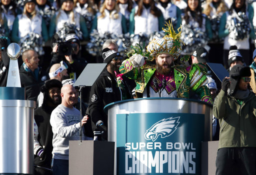 <div class='meta'><div class='origin-logo' data-origin='AP'></div><span class='caption-text' data-credit='AP'>Philadelphia Eagles center Jason Kelce speaks in front of the Philadelphia Museum of Art after a Super Bowl victory parade for the team Feb. 8, 2018 (AP Photo/Alex Brandon)</span></div>