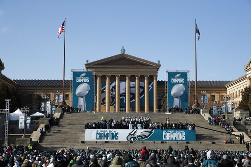 <div class='meta'><div class='origin-logo' data-origin='AP'></div><span class='caption-text' data-credit='AP'>The Philadelphia Eagles ceremony takes place in front of the Philadelphia Museum of Art after a Super Bowl victory parade for theteam, Thursday, Feb. 8, 2018(AP Photo/Alex Brandon)</span></div>