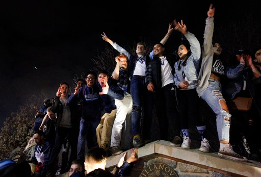 <div class='meta'><div class='origin-logo' data-origin='AP'></div><span class='caption-text' data-credit='AP Photo/Laurence Kesterson'>Fans cheer on the campus of Villanova University after the NCAA college basketball national championship game between Villanova and Michigan, April 2, 2018, in Villanova, Pa.</span></div>
