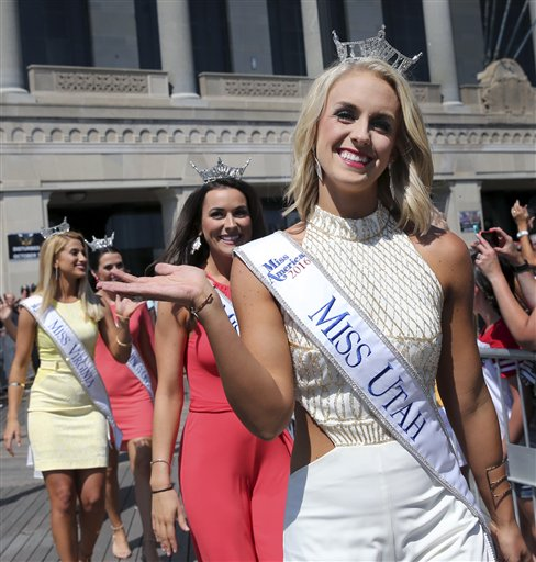 <div class='meta'><div class='origin-logo' data-origin='none'></div><span class='caption-text' data-credit='AP'>Miss Utah, Lauren Wilson waves as she is introduced during Miss America Pageant arrival ceremonies Tuesday, Aug. 30, 2016, in Atlantic City.</span></div>