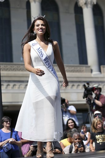 <div class='meta'><div class='origin-logo' data-origin='none'></div><span class='caption-text' data-credit='AP'>Miss West Virginia, Morgan Breeden is introduced during Miss America Pageant arrival ceremonies Tuesday, Aug. 30, 2016, in Atlantic City.</span></div>