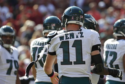 "<div class=""meta image-caption""><div class=""origin-logo origin-image ap""><span>AP</span></div><span class=""caption-text"">Philadelphia Eagles quarterback Carson Wentz tries to fix his jersey after it was torn in the first half of an NFL football game against the Washington Redskins, Oct. 16, 2016. (AP Photo/Alex Brandon)</span></div>"