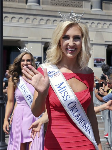 <div class='meta'><div class='origin-logo' data-origin='none'></div><span class='caption-text' data-credit='AP'>Miss Oklahoma, Sarah Klein waves as she is introduced during Miss America Pageant arrival ceremonies Tuesday, Aug. 30, 2016, in Atlantic City.</span></div>