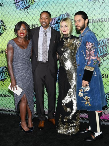 "<div class=""meta image-caption""><div class=""origin-logo origin-image none""><span>none</span></div><span class=""caption-text"">Actors Viola Davis, left, Will Smith, Margot Robbie and Jared Leto attend the world premiere of ""Suicide Squad"" at the Beacon Theatre on Monday, Aug. 1, 2016, in New York. (Evan Agostini/Invision/AP)</span></div>"