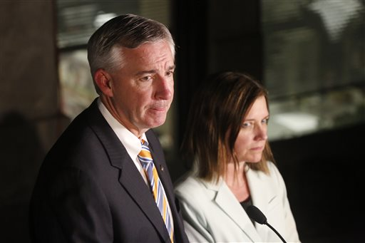 <div class='meta'><div class='origin-logo' data-origin='AP'></div><span class='caption-text' data-credit='AP'>Montgomery County District District Attorney Kevin Steele and assistant district attorney Michelle Henry speak after the guilty verdict for Kathleen Kane</span></div>