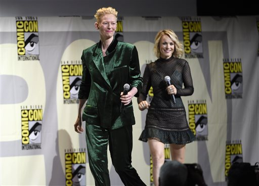 <div class='meta'><div class='origin-logo' data-origin='AP'></div><span class='caption-text' data-credit='Photo by Chris Pizzello/Invision/AP'>Tilda Swinton, left, and Rachel McAdams walk on stage at the &#34;Dr. Strange&#34; panel on day 3 of Comic-Con International on Saturday, July 23, 2016, in San Diego.</span></div>