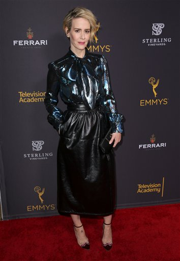 "<div class=""meta image-caption""><div class=""origin-logo origin-image ap""><span>AP</span></div><span class=""caption-text"">Sarah Paulson arrives at the Television Academy's Performers Emmy Celebration at the Montage Beverly Hills on Monday, Aug. 22, 2016. (Matt Sayles/Invision/AP)</span></div>"