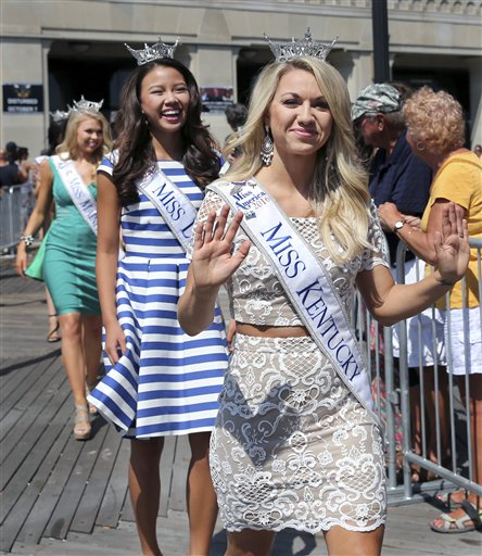 "<div class=""meta image-caption""><div class=""origin-logo origin-image none""><span>none</span></div><span class=""caption-text"">Miss Kentucky, Laura Jones  waves as she is introduced during Miss America Pageant arrival ceremonies Tuesday, Aug. 30, 2016, in Atlantic City. (AP)</span></div>"