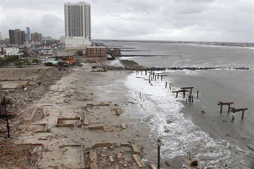 <div class='meta'><div class='origin-logo' data-origin='none'></div><span class='caption-text' data-credit='AP'>Foundations and pilings are all that remain of brick buildings and a boardwalk in Atlantic City, N.J., Tuesday, Oct. 30, 2012</span></div>