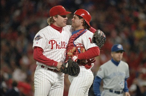 <div class='meta'><div class='origin-logo' data-origin='AP'></div><span class='caption-text' data-credit='AP'>Curt Schilling hugs Darren Daulton after the Phillies defeated the Toronto Blue Jays in Game 5 of the World Series Thursday, Oct. 21, 1993 in Philadelphia. (AP Photo/Amy Sancetta)</span></div>