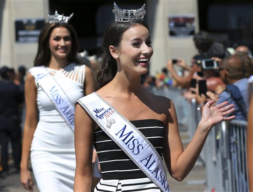 <div class='meta'><div class='origin-logo' data-origin='none'></div><span class='caption-text' data-credit='AP'>Miss Alaska, Kendall Bautista waves during Miss America Pageant arrival ceremonies Tuesday, Aug. 30, 2016, in Atlantic City.</span></div>