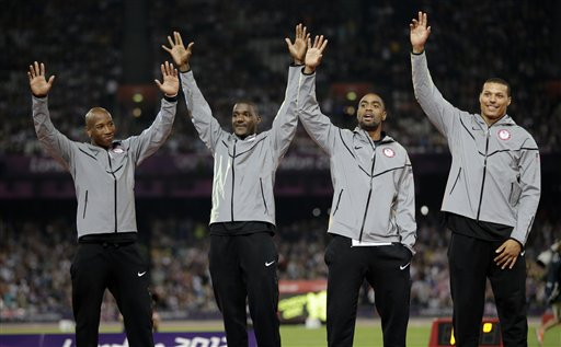 <div class='meta'><div class='origin-logo' data-origin='AP'></div><span class='caption-text' data-credit='AP Photo/Matt Slocum'>USA's Trell Kimmons, Justin Gatlin, Tyson Gay and Ryan Bailey celebrate after receiving their silver medals for the men's 4x100-meter at the 2012 Summer Olympics</span></div>