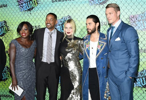 "<div class=""meta image-caption""><div class=""origin-logo origin-image none""><span>none</span></div><span class=""caption-text"">Viola Davis, from left, Will Smith, Margot Robbie, Jared Leto and Joel Kinnaman attend the world premiere of ""Suicide Squad"" at the Beacon Theatre (Evan Agostini/Invision/AP)</span></div>"