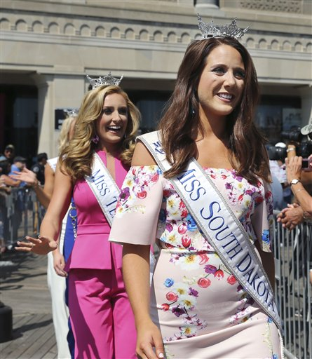 <div class='meta'><div class='origin-logo' data-origin='none'></div><span class='caption-text' data-credit='AP'>Miss South Dakota, Julia Olson is introduced during Miss America Pageant arrival ceremonies Tuesday, Aug. 30, 2016, in Atlantic City.</span></div>