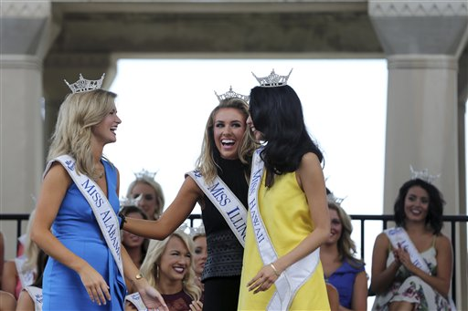 <div class='meta'><div class='origin-logo' data-origin='none'></div><span class='caption-text' data-credit='AP'>Miss Alabama, Hayley Barber, Miss Illinois, Jaryn Franklin and Miss Hawaii, Allison Carol Nanea Chu  Tuesday, Aug. 30, 2016, in Atlantic City.</span></div>