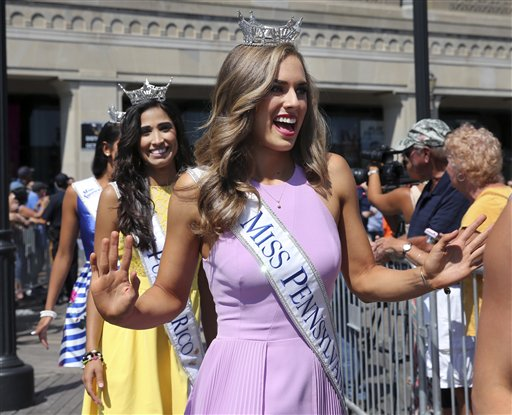 <div class='meta'><div class='origin-logo' data-origin='none'></div><span class='caption-text' data-credit='AP'>Miss Pennsylvania, Samantha Lambert waves as she is introduced during Miss America Pageant arrival ceremonies Tuesday, Aug. 30, 2016, in Atlantic City.</span></div>
