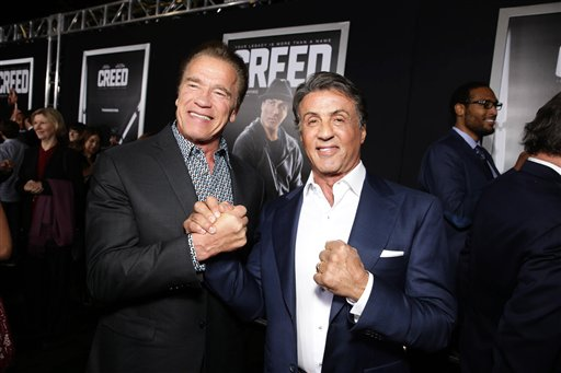 <div class='meta'><div class='origin-logo' data-origin='none'></div><span class='caption-text' data-credit='Eric Charbonneau/Invision/AP'>Arnold Schwarzenegger and Producer Sylvester Stallone seen at Los Angeles World Premiere of New Line Cinema?s and Metro-Goldwyn-Mayer Pictures' 'Creed'</span></div>