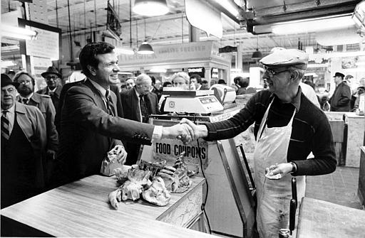 <div class='meta'><div class='origin-logo' data-origin='none'></div><span class='caption-text' data-credit='AP'>U.S. Sen. H. John Heinz III, R-Pa., shakes hands with butcher Henry Ochss during his visit to Philadelphia's Reading Terminal Market, Pa., Monday, March 1, 1982.</span></div>