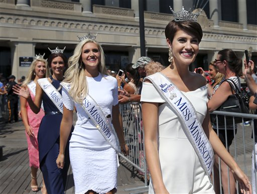<div class='meta'><div class='origin-logo' data-origin='none'></div><span class='caption-text' data-credit='AP'>Miss Minnesota, Madeline Van Ert is introduced during Miss America Pageant arrival ceremonies Tuesday, Aug. 30, 2016, in Atlantic City.</span></div>
