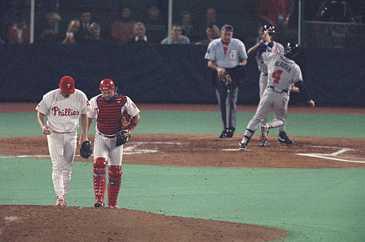 "<div class=""meta image-caption""><div class=""origin-logo origin-image ap""><span>AP</span></div><span class=""caption-text"">Phillies pitcher Tommy Greene, left, confers with teammate Darren Daulton on the mound during Game 2 of the National League Playoffs at Veterans Stadium, Thursday, Oct. 7, 1993.</span></div>"