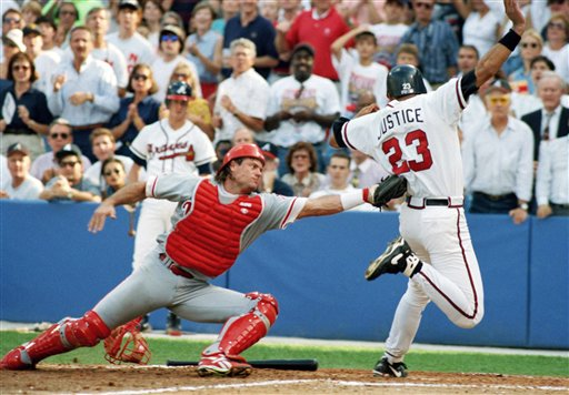<div class='meta'><div class='origin-logo' data-origin='AP'></div><span class='caption-text' data-credit='Associated Press'>Darren Daulton is seen during Game 3 of the NLCS, Saturday, Oct. 9, 1993, Atlanta, Ga.</span></div>