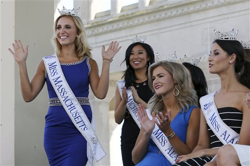 <div class='meta'><div class='origin-logo' data-origin='none'></div><span class='caption-text' data-credit='AP'>Miss Massachusetts, Alissa Musto waves as she is introduced during Miss America Pageant arrival ceremonies Tuesday, Aug. 30, 2016, in Atlantic City.</span></div>