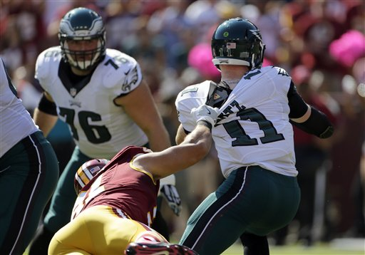 "<div class=""meta image-caption""><div class=""origin-logo origin-image ap""><span>AP</span></div><span class=""caption-text"">Philadelphia Eagles quarterback Carson Wentz's jersey is ripped by Washington Redskins outside linebacker Ryan Kerrigan in the first half of an NFL football game. (AP Photo/Mark Tenally)</span></div>"