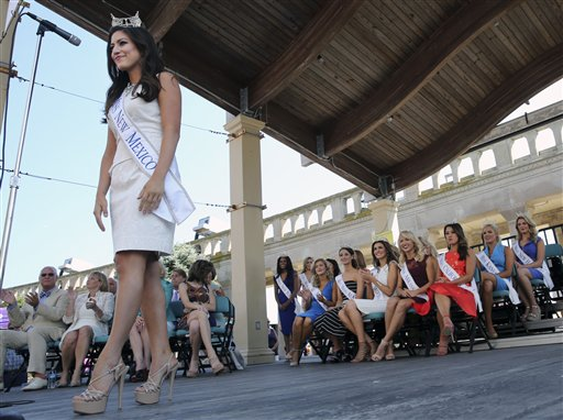 <div class='meta'><div class='origin-logo' data-origin='none'></div><span class='caption-text' data-credit='AP'>Miss New Mexico, Stephanie Chavez is introduced during Miss America Pageant arrival ceremonies Tuesday, Aug. 30, 2016, in Atlantic City.</span></div>