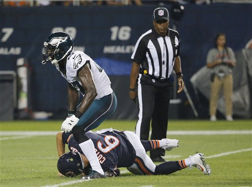 <div class='meta'><div class='origin-logo' data-origin='none'></div><span class='caption-text' data-credit='AP'>Chicago Bears quarterback Jay Cutler (6) is sacked by Philadelphia Eagles strong safety Malcolm Jenkins (27) during the first half.</span></div>