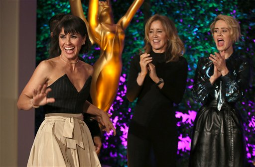 "<div class=""meta image-caption""><div class=""origin-logo origin-image none""><span>none</span></div><span class=""caption-text"">Constance Zimmer, left, walks on stage at the Television Academy's Performers Emmy Celebration at the Montage Beverly Hills on Monday, Aug. 22, 2016. (Invision for the Television Academy)</span></div>"