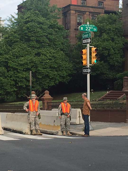 """<div class=""""meta image-caption""""><div class=""""origin-logo origin-image wpvi""""><span>WPVI</span></div><span class=""""caption-text"""">National Guard at the corner is 22nd Street and Green Street in Philadelphia's Fairmount section.</span></div>"""