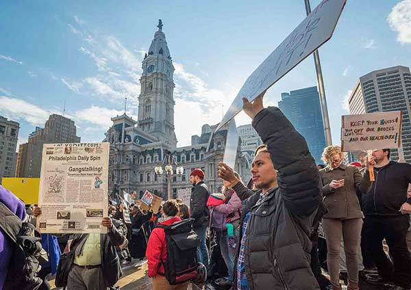 "<div class=""meta image-caption""><div class=""origin-logo origin-image wpvi""><span>WPVI</span></div><span class=""caption-text"">Protesters greeted Donald Trump as he arrived in Philadelphia to address the GOP retreat. (Action News photographer Bruce Neumann)</span></div>"