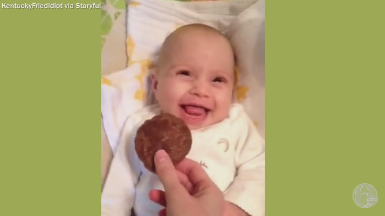 VIDEO: Baby smells chocolate for first time