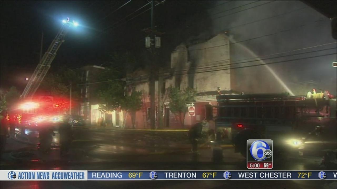 VIDEO: 2-alarm Camden blaze leads to partial wall collapse