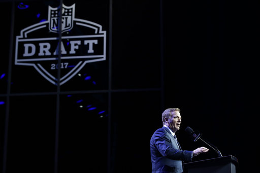 <div class='meta'><div class='origin-logo' data-origin='AP'></div><span class='caption-text' data-credit='AP'>NFL Commissioner Roger Goodell speaks during the first round of the 2017 NFL football draft, Thursday, April 27, 2017, in Philadelphia. (AP Photo/Matt Rourke)</span></div>