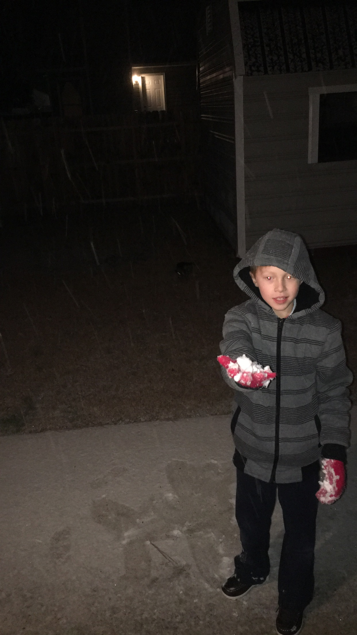 <div class='meta'><div class='origin-logo' data-origin='none'></div><span class='caption-text' data-credit='Virginia Daubert - ABC11 Eyewitness'>Snowing in Fayetteville. My son making the first snow ball!</span></div>