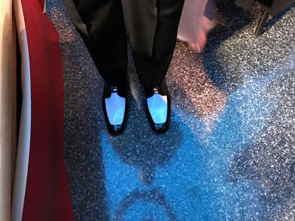 "<div class=""meta image-caption""><div class=""origin-logo origin-image wtvd""><span>WTVD</span></div><span class=""caption-text"">Joel Brown's shoes! Governor's Inaugural Ball, Friday night at Marbles Museum in Raleigh. (Caroline F. Welch)</span></div>"