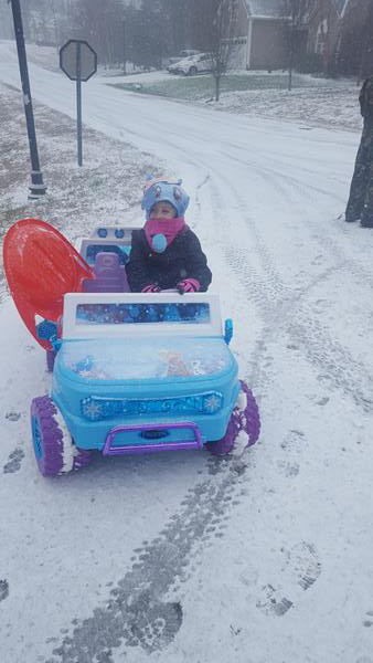 <div class='meta'><div class='origin-logo' data-origin='WTVD'></div><span class='caption-text' data-credit='Tiffany Peters - ABC11 Eyewitness'>5year old Aubrey taking her jeep out in the snow!</span></div>