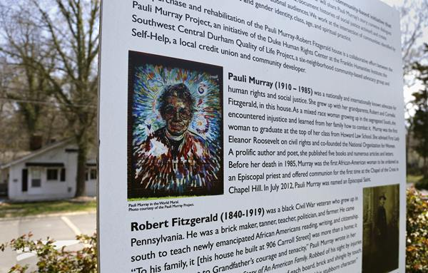 <div class='meta'><div class='origin-logo' data-origin='AP'></div><span class='caption-text' data-credit='Gerry Broome'>In this photo taken Thursday, April 2, 2015, a mural outside the childhood home of Pauli Murray provides some history of the house in Durham.</span></div>