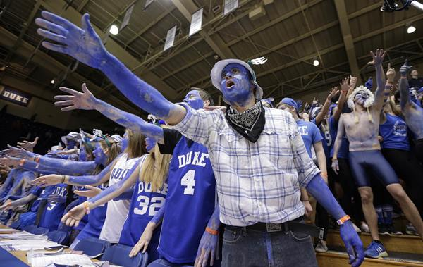 "<div class=""meta image-caption""><div class=""origin-logo origin-image ap""><span>AP</span></div><span class=""caption-text"">Duke fans cheer prior to the team's NCAA college basketball game against North Carolina in Durham. (Gerry Broome)</span></div>"