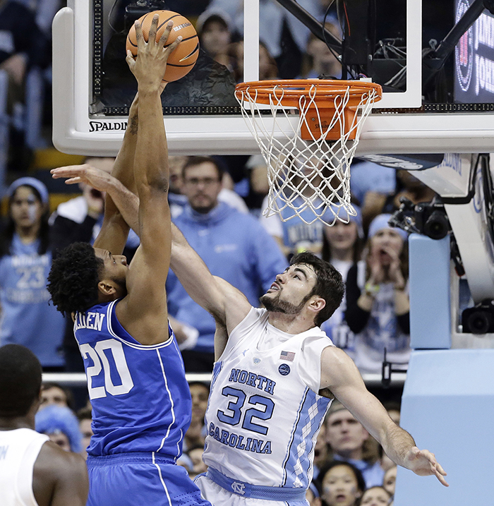 <div class='meta'><div class='origin-logo' data-origin='AP'></div><span class='caption-text' data-credit='Gerry Broome'>Duke's Marques Bolden goes in for a dunk over North Carolina's Luke Maye.</span></div>